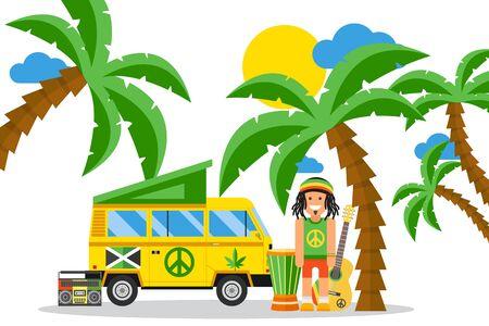 Rastafarian cartoon character on Jamaica, hippie van and musical instruments, vector illustration. Simple flat style scene, summer leisure on tropical island, Jamaican culture and reggae music