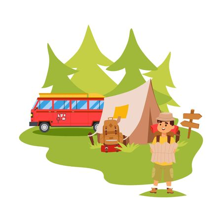 Camper van and tent outdoor, tourist hiking with backpack, vector illustration. Man exploring nature, cartoon character, outdoor adventures. Tourist in forest, travel camp with tent, campsite bus Illustration