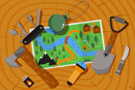 Expedition adventure map, hiking and camping outdoor in nature, vector illustration. Prepare useful equipment for outdoor adventure, expedition plan. Trekking and hiking in nature, map, spade and ax 일러스트