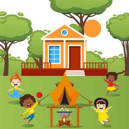 Children playing with tent outdoor, happy kids running around campfire, vector illustration. Summer activity in kindergarten, cheerful boys and girls playing in backyard. Cute cartoon character people