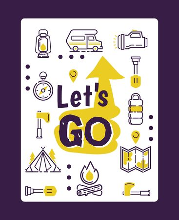 Camping icons isolated on motivational typographic poster, vector illustration. Set of travel icons, camping van, map, compass, tent and campfire. Inspirational card, outdoor equipment store booklet