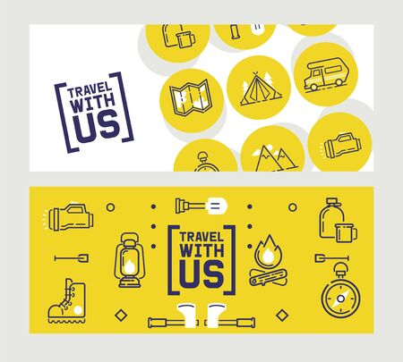 Camping banner with isolated icons, travel brochure, outdoor adventure booklet, vector illustration. Travel icons with camping van, map, compass, tent and campfire. Outdoor equipment store banner
