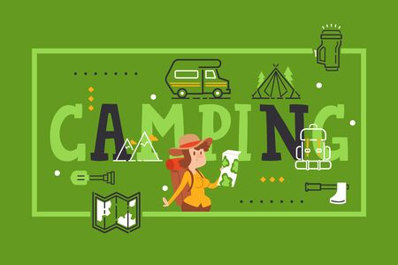 Camping typography poster, brochure cover of outdoor equipment store, vector illustration. Campground booklet card, woman cartoon character tourist with map. Campsite symbols and icons, travel poster 일러스트
