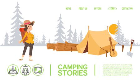 Woman cartoon character at campsite, tent in forest, outdoor activity website design, vector illustration. Camping in nature, people outdoor, tourist with backpack. Campsite landing page template Illustration