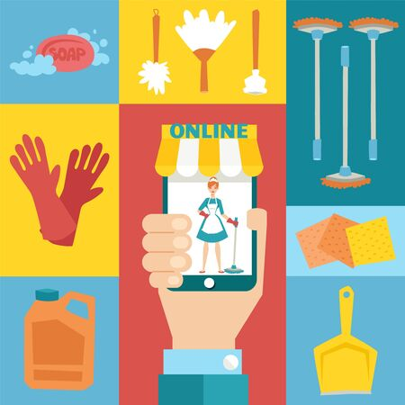 Cleaning service online app, collage with isolated flat icons, vector illustration. Hand holding phone with cleaning lady cartoon character, maid in uniform. Household products for chores, mop and rag