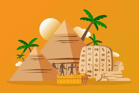 Egyptian pyramids and archeological artifacts, vector illustration. Ancient hieroglyphs and pharaoh sarcophagus. Famous pyramids of Egypt, historic monument and travel destination, sightseeing tour Ilustrace