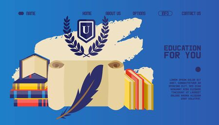 University website design, educational books, vector illustration. College landing page template, icons of books and blank scroll with feather for writing. University library, online education website