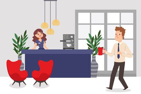 Reception desk in business office, man and woman employees, vector illustration. Cartoon characters working in business company, smiling receptionist and colleague with cup of coffee, office people