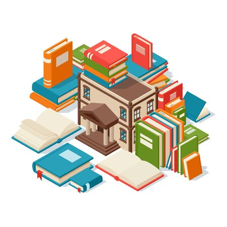 Library building surrounded by books, concept of reading and education, vector illustration. Piles of isometric books, banner for library, bookstore or university. Read literature, knowledge concept Ilustracja