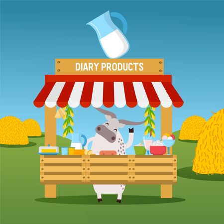 Cow selling dairy products at market stall, healthy organic farm food, vector illustration. Funny cartoon character, local market of farmland products. Fresh milk and dairy, farmer cow mascot on field