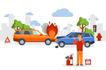 Car accident insurance, road crash in flat cartoon style, man calling for emergency help, vector illustration. Road accident, car collision insurance, people in emergency traffic situation call help