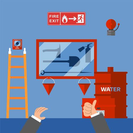 Fire safety measures inspection in office building, emergency security system, vector illustration. Inspector approves fire safety equipment, emergency evacuation instructions. Extinguisher, spade, ax