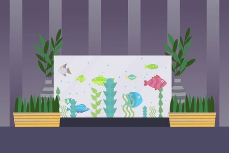 Aquarium in room interior, fish swimming in water, simple flat style vector illustration. Aquarium fish and seaweed, houseplants in house interior. Decoration for home and office, aquatic pet shop