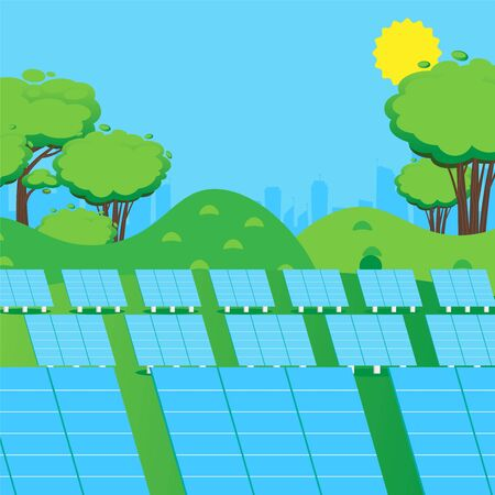 Solar panel station, sustainable power environment, renewable energy of sun, vector illustration. Eco friendly technology of power generator, green electricity. Environment energy source industry Illustration
