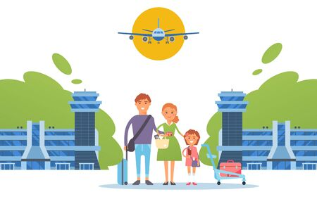 Happy family together at airport, travel people cartoon characters, flat style vector illustration. Parents with kid arrive to international airport terminal, cheerful family on vacation, tourists