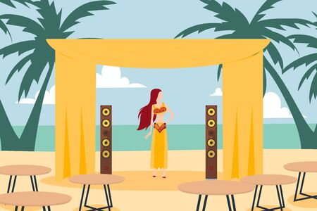 Belly dancer woman cartoon character on beach, girl performing in summer outdoor cafe, vector illustration. Female dancer people, exotic island vacation entertainment. Dancing woman in flat style