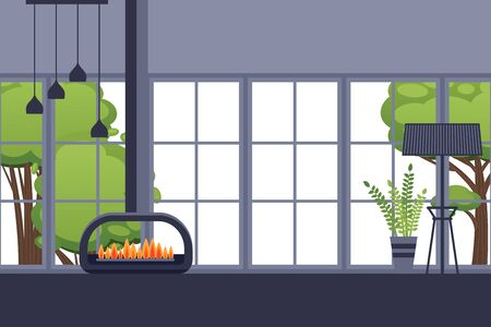 Fireplace in modern room interior, spacious apartment room in flat style, vector illustration. Large window of comfortable house, cozy home with modern loft interior, fire burning in open fireplace Ilustracja
