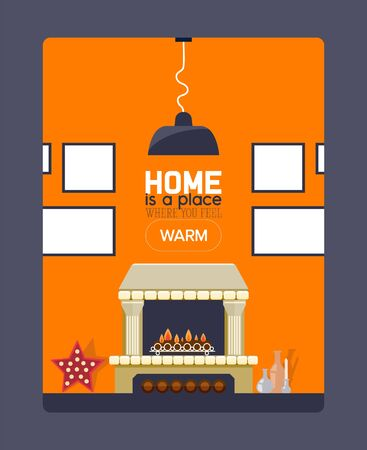 Inspirational quote about home, fireplace and frame on wall, brochure cover template, vector illustration. Typographic phrase, home is place where you feel warm. Fireplace store booklet in flat style Ilustracja