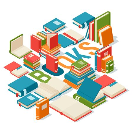 Isometric books, banner for library or bookstore, vector illustration. Typography poster with many different books, closed and open with blank pages. Symbol of knowledge and education, library poster Ilustracja