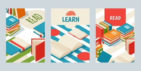 Set of banners with books, poster for library or bookstore, vector illustration. Brochure cover, booklet template with place for text. Open book with blank pages, symbol of knowledge and education