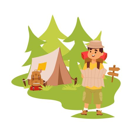 Camper tourist tent outdoor, hiking with backpack, vector illustration. Man with map exploring nature, cartoon character, outdoor adventures. Tourist in forest, travel camp with tent, campsite bus
