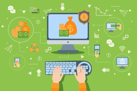Illustration vectorielle de banque en ligne avec transaction de paiement dans le concept internet. Technologie d'entreprise numérique dans le service Web financier. Infographie de la banque mobile. Icône plate d'argent, de carte et d'ordinateur. Vecteurs