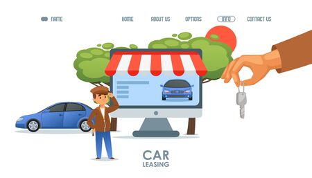 Car leasing service landing page vector illustration with rented auto and customer in cartoon style. Automobile rental web business. Lease purchase online concept. Dealer giving the key to buyer.