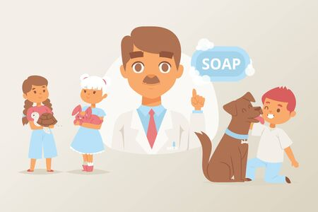 Wash your hand with soap after animals vector illustration with doctor cartoon character giving advice. Poster with little girls and boy and their pets dog, bunny and turtle for educational purpose. Vectores