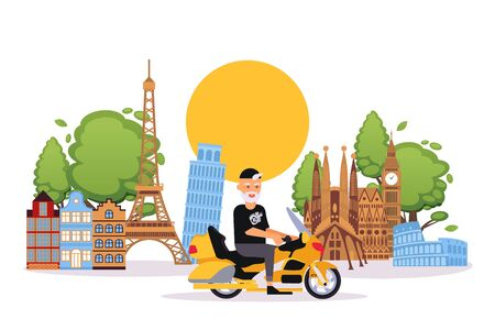 Happy retired elderly man travels on bike in Europe flat vector illustration. Smiling senior person on vacation rides motorcycle. Retirement age caucasian cartoon character on holidays.
