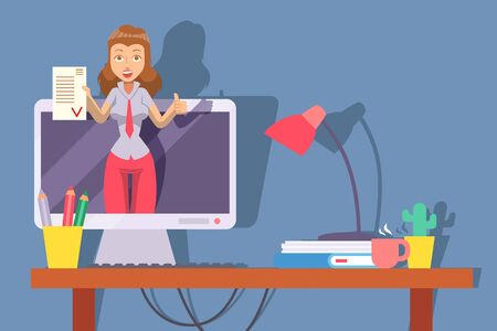 Businesswoman offers profitable deal, online advertisement concept, vector illustration. Female manager on computer screen display, cartoon character. Business partner agreement, contract presentation