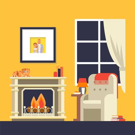 Fireplace in room interior, cozy house room flat style, vector illustration. Fire burning in fireplace, armchair in living room, cozy apartment interior. Picture of newlywed couple in frame on wall