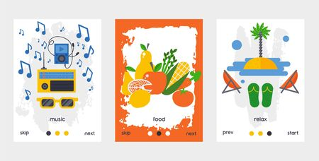 Healthy lifestyle application vector illustration, digital technology for health activity maintenance concept in flat style. Music, food and relax pages design for smartphone app. Good life habits.