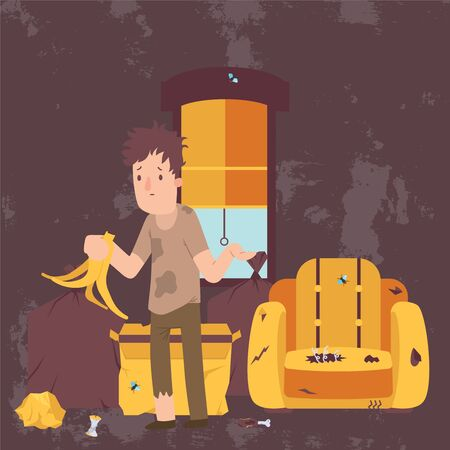 Unemployed man in dirty room, jobless person in messy house, poor person apartment, vector illustration. Depressed male cartoon character, broken furniture and trash. Homeless person lonely and hungry