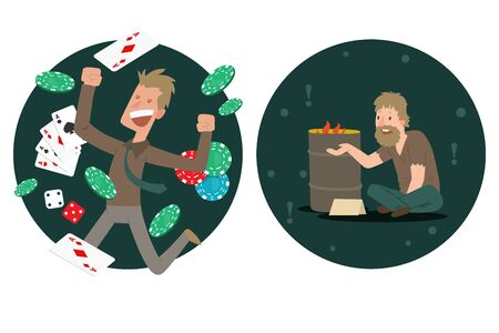 Jackpot winner compared to homeless man, rich and poor people cartoon characters, vector illustration. Happy guy celebrating victory in casino gambling. Unemployed beggar on street lost everything