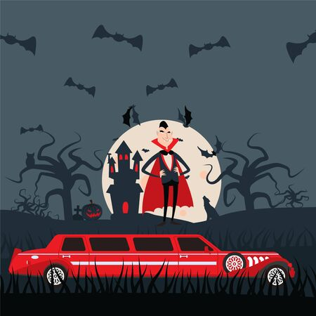 Vampire Dracula cartoon character, luxury limousine car for Halloween night, vector illustration. Comic man in costume on cemetery, grim castle and flying bats. Count Dracula in funny flat style