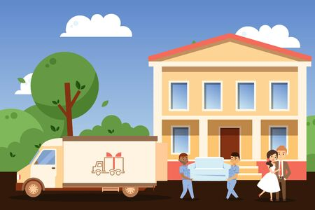 Happy couple moving to new house, people cartoon characters relocating, vector illustration. Furniture transfer service workers carry couch from truck to house entrance. Smiling man and woman in love