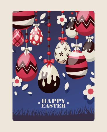 Easter card with spring flowers and cute baby bunn, decorative eggs in frame cartoon vector illustration. Funny bunny for easter holiday spring flowers card.