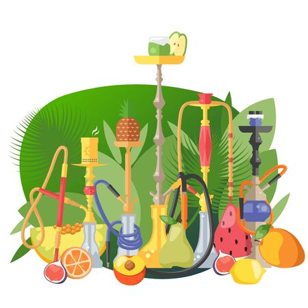 Large set of hookah for smoking concept and vector illustration on white background. Banner, postrer, greeting card. Fruit hookah, apple, orange, peach, strawberry, mango, melon. Flat style.