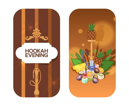 Invitation card for hookah evening concept and vector illustration on white background. Different asian, tropical fruit kalyan flavor. Evening relaxation with smoking mixes. Flat style. Illustration