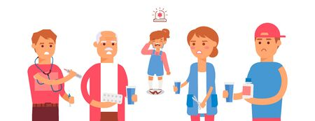 Character old man, child, young man, woman dissatisfied with medicines vector illustration on white isolated. Flat people sick and taking medication, design hospital and clinic institution. Stock Illustratie