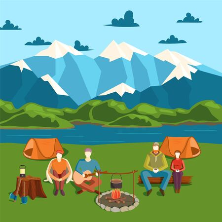 Camping tent banner with flat tourist, outdoor party vector illustration. Campfire on shore, mountain, river. Design character man, woman traveler company seat resting and relaxing after trip.