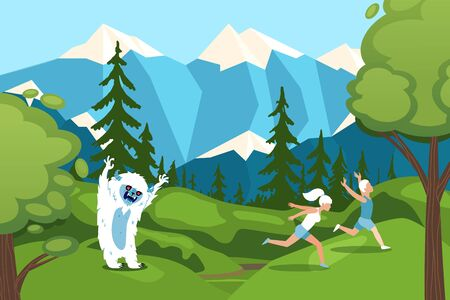Character man, woman running away from bigfoot in forest on mountain background design vector illustration. Flat yeti monster from forest attack, scared people, outdoor travel, hike trip.