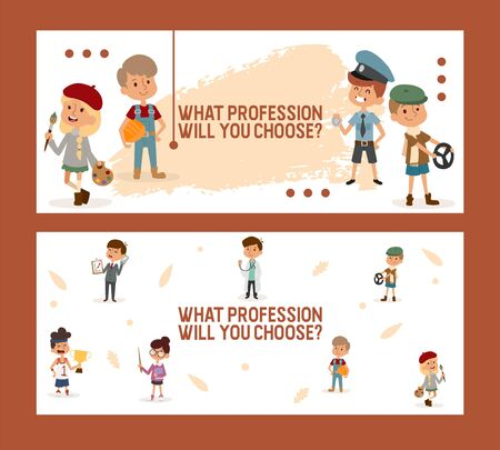 What profession will you choose Banner for school and kindergarten, working profession character child flat vector illustration. School job fair, kid choose future specialty, occupation.