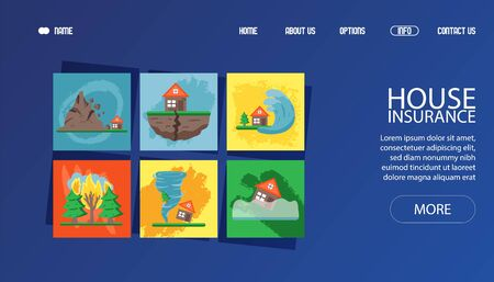 Banner for web cataclysm, bad weather, hurricane wind, flood, thunderstorm and torrential rain vector illustration. Contact us, about us, home, option button. Web site design template, disaster.
