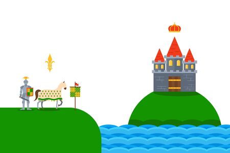 Knight, horse and castle on river, simple flat vector illustration. Chivalric fortress on green hill, rock. Horseman on grass landscape. Banner, poster and simple design for website. Vektorové ilustrace