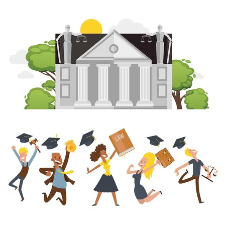 Lawyer student celebrate completion studies, character male and female flat vector illustration isolated on white. Legalist, magistrate, public prosecutor jump, commemorate finish study. 向量圖像