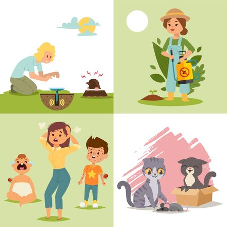 Pest in garden, insect flat vector illustration. Character woman with poison, children cry, cat get mouse, female repel mole. Design pest control for poster, web banner and card.