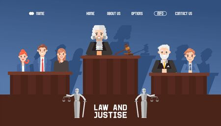 Banner web law and justice, court with jury and judge, waiting case vector illustration. Contact, about us, home, options button. Flat website design template and banner, court hall.