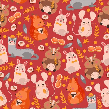 Ferret, squirrel, hare, hamster character seamless pattern, banner. Design wildlife, nature, rodent, flat vector illustration. Wrapping design paper, packaging for forest animal life item 일러스트