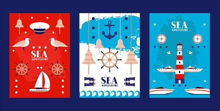 Sea adventure poster, peaked cap, seagull, lighthouse, binoculars, boat, yacht, sailboat, bell, flat vector illustration. Water surface ocean place water navigate design web banner